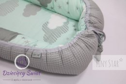 Kokon bambusowy 0-8m Minty Puffs & Grey Tiny Star