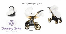 Wózek Mommy White Glossy Gold 3w1 BabyActive Rose Gold