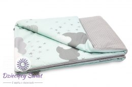 Kocyk Cotton-waffel 75x100 Grey & Minty Puffs Tiny Star